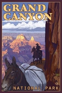 Mule Train - Grand Canyon National Park - Lantern Press Original Poster