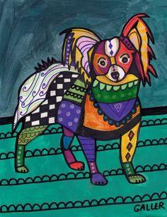 papillon dog art print