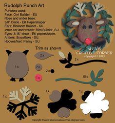 Alex's Creative Corner: Rudolph Punch Art Card