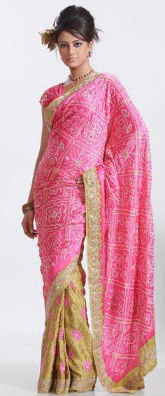 Pink & Gold Saree~