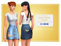 The Sims 4 Colorful Plumbobs Denim Skirts Recolor