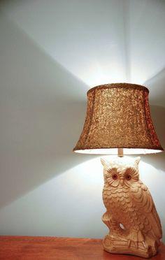 Owl lamp and DIY glitter lamp shade    #gif    www.starsforstreetlights.com