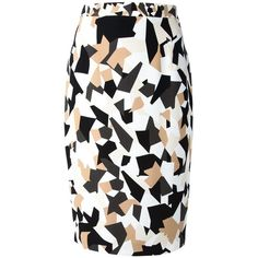 GIVENCHY geometric print pencil skirt (1.690 BRL) ❤ liked on Polyvore featuring skirts, bottoms, givenchy, pencil skirt, camel pencil skirt, black white skirt, high waisted knee length skirt, high waist knee length pencil skirt and black and white pencil skirt