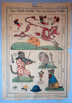 Newspaper Nursery Rhyme Paper Doll Hey Diddle Diddle Detroit 1922 | eBay Vintage Playmates, Hey Diddle Diddle, Vintage Paper Dolls, Paper Toys, Nursery Rhymes, Vintage Cards, Baby Pictures, Book Art, Fairy Tales