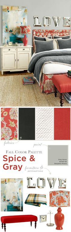 Mix a spicy orange/red with shades of gray for a room that feels energetic and cozy