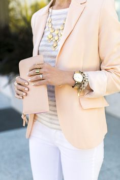 Peach blazer, grey stripe shirt, white skinnies, and gold jewelry.