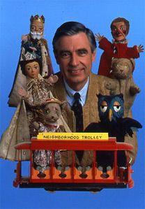 Mr. Roger's Neighborhood....King Friday, Queen Sara (their son was Prince Wednesday), Henrietta Kitty (Meow Meow), Lady Elaine Fairchilde (creepy!!), Daniel Tiger, X the Owl (Henrietta's tree house neighbor) & of course Trolly :)