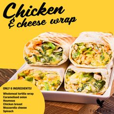 Your meals really don't have to be dull! Even eating healthily can be exciting.Take this chicken and cheese wrap for example, packed full of delicious ingredients! Use the recipe and experience it yourself! Diet Recipes, Healthy Recipes, Cheese Wrap, Forever Aloe, Mozzarella Chicken, Tortilla Wraps, Chicken Wraps, Forever Living Products, Healthy Living