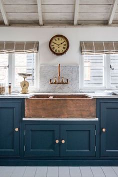 Home Decor Inspiration : Dark teal cabinets combined with beige white and timber. Home Decor Inspiration : Dark teal cabinets combined with beige white and timber touches hint at a nauti Farmhouse Sink Kitchen, Kitchen Paint, Rustic Kitchen, Farmhouse Style, Rustic Farmhouse, Country Kitchen, Fresh Farmhouse, Copper In Kitchen, Copper Farmhouse Sinks