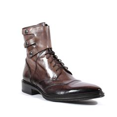 Jo Ghost Italian Mens Shoes Inglese Moscato Grey Leather Boots (JG2106) Material: Leather 	Hardware: Antique Silver Metal 	Color: Grey 	 Outer Sole: Leather 	 Comes with original box and dustbag. 	Made in Italy. 	3237M