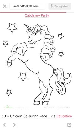 Unicorn pattern. Use the printable outline for crafts
