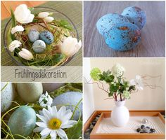 Easter/Spring decoration with handpainted eggs and flowers