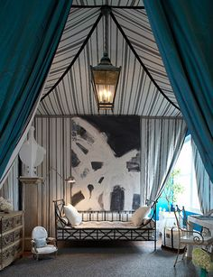 A fully tented Empire style inspired space designed by Paula & Martha for a Hampton Designer Showhouse...