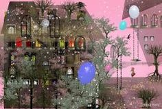 pink house snow colorful balloons girl trees illustration Ilona Reny
