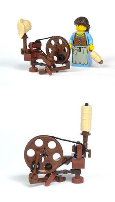 Spinning Wheel - Vintage Wooden Spinning Wheel #LEGO #wood #wheel