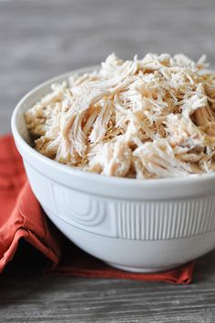 Slow cooker shredded chicken has 2 ingredients and yields 5 lbs of cooked chicken that can be easily repurposed for multiple meals throughout the week! Slow Cooker Shredded Chicken, Shredded Chicken Recipes, Cooked Chicken, Chicken Stovetop, Pulled Chicken, Bbq Chicken, Chicken Salad, Healthy Living Recipes, Clean Eating Recipes