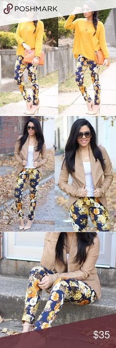 Yellow, Blue & Orange Floral Pants Worn twice for photos. Stretchy. Front zipper. Pockets. Perfect statement pants Choies Pants
