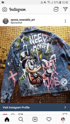 Inspo custom jacket 2019 The post Inspo custom jacket 2019 appeared first on Denim Diy. Painted Denim Jacket, Painted Jeans, Painted Clothes, Diy Jeans, Diy Clothing, Custom Clothes, Denim Kunst, Jean Diy, Custom Denim Jackets