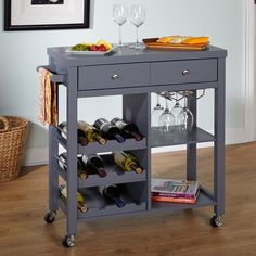 The Simple Living Colwood wine cart is the perfect addition for entertaining your guests. This cart comes with casters for easy mobility, space for your favorite wine and stemware and a storage drawer for the wine opener and other accessories.