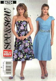 Butterick Sewing Pattern 4704 Misses Size 16-18-20-22 Easy Strapless Short Sleeve Flared Dresses