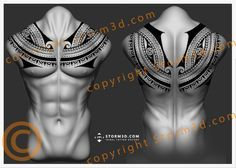 awesome-chest-collar-tattoo-in-polynesian-maori-style-full-upperback