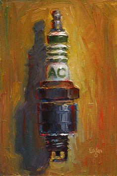 """Fouled AC Delco Spark Plug"" Original Oil Painting by Raymond Logan"