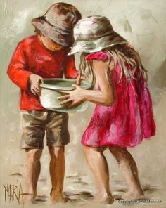 """Painted by Maria Magdalena Oosthuizen - """"Dancing Girl"""" ~ such a happy painting, the artist is the same one who painted the girl mailing hearts in the mailbox, pinned below. Description from pinterest.com. I searched for this on bing.com/images"""