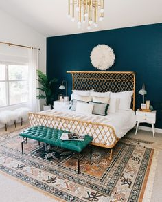 The perfect rug for this desert boho retreat, featured in this master bedroom reveal by @avestyles with @decorist  and @ruemagazine.