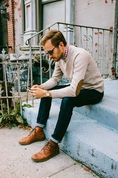 Winter / Fall Fashion Stitch Fix Fall Men - mens fall outfit, semi hipster. Leather elbow patch sweater with skinny cuffed jeans. Mens Fall Outfits, Stylish Men, Men Casual, Mode Man, Elbow Patch Sweater, Elbow Patches, Moda Blog, Herren Outfit, Sharp Dressed Man