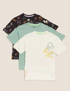3pk Pure Cotton Graphic T-shirts (6-16 Yrs) | M&S Suit Shop, Man Shop, Bedding Shop, Best Jeans, Cool Kids, Lounge Wear, T Shirt, Pure Products, Skull Artwork