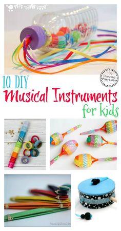 10 DIY Musical Instruments for Kids. // Instrumentos musicales para niños #diy #music #instruments