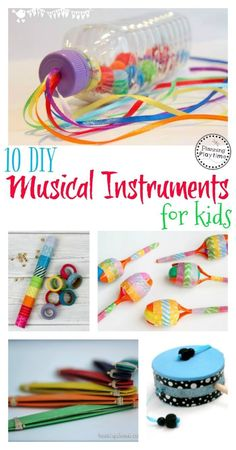 10 DIY Musical Instruments for Kids. // Instrumentos musicales para niños #diy #music #instruments