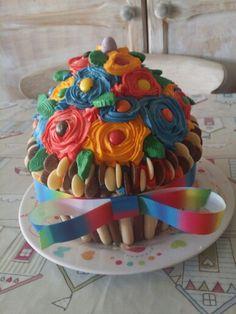 Multicoloured cupcake Cupcake, Birthday Cake, Cakes, Desserts, Food, Tailgate Desserts, Scan Bran Cake, Cup Cakes, Birthday Cakes