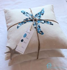 DIY Thumbprint Coastal Pillows - @Pretty Handy Girl  Too adorable for a sweet Mother's Day gift!