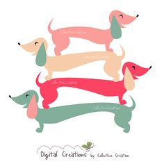 Sausage Dog / Dachshund Digital Clipart Set - Ideal for Scrapbooking, Card Making and Paper Crafts, Clip Art on Etsy, $4.00