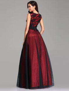 85dce3686bf Sleeveless Evening Dress with Black Brocade