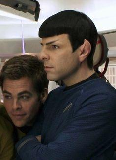 What ya looking at, Spock Star Trek V, Star Trek Cast, Star Trek Spock, Star Trek Ships, Star Trek Posters, James T Kirk, Star Trek Reboot, Spock And Kirk, Star Trek Into Darkness