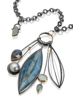 Blue Sky cluster necklace.  Check out this big, beautiful stone!  Azurite and troilite, clustered with labradorite and aquamarine.  www.sydneylynch.com