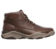 Skechers Men's Ridge Fowler Relaxed Fit Memory Foam Lace Up Boots (Brown)