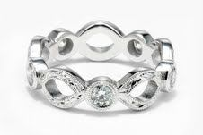 Hand Engraved Wedding Ring With Diamonds by Calla Gold Jewelry
