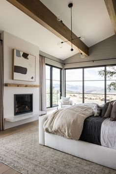 Mountainside Retreat: The Primary Bed + Bath Future House, Reclaimed Wood Mantle, White Headboard, Bedroom Decor For Teen Girls, Style Simple, Modern Light Fixtures, Studio Mcgee, Modern Spaces, Room Lights