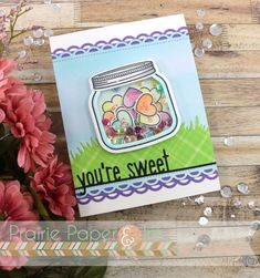 LFHow You Bean? stamp/die set, combined w the  Conversation Heart Add-on set. I stamped all the images w MFT Extreme Black ink onto Neenah 80lb Classic Crest Solar White cs and coloured w Copics. (Blue cs is LF Watercolor Wishes 6x6 and green is from Perfectly Plaid Rainbow 6x6)