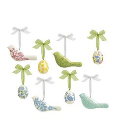 Look at this Floral Egg & Bird Ornament Set on #zulily today!