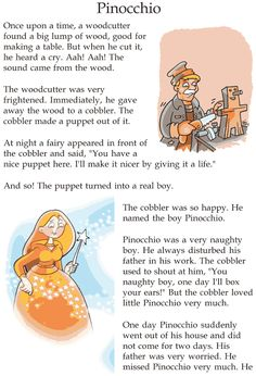 Grade 2 Reading Lesson 9 Fairy Tales - Pinocchio (1) Stories With Moral Lessons, English Moral Stories, Short Moral Stories, English Stories For Kids, Moral Stories For Kids, Learning English For Kids, Short Stories For Kids, English Story, Reading Stories