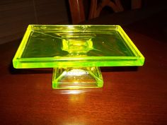 Vaseline Glass - Clark Teaberry Gum display stand - Early 1900's.