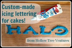 Step-by-step EASY instructions for adding customized lettering to a birthday cake!if only I'd seen this a few hours ago. Cake Cookies, Cupcake Cakes, Cupcakes, Cake Icing, Cake Decorating Tips, Cookie Decorating, Halo Cake, Halo Party, 10th Birthday Parties