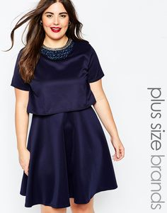 Image 1 of Club L Plus Overalay Dress with Necklace Trim