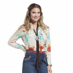 Wrangler Quincy Collection Women's Tan Print Button Down Long Sleeve Shirt