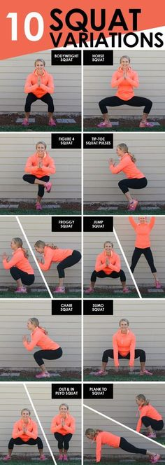 Love squats but need to mix it up a little bit? Here are 10 different squat variations for you to add into your next workout! Love squats but need to mix it up a little bit? Here are 10 different squat variations for you to add into your next workout! Fitness Workouts, Sport Fitness, Fitness Goals, At Home Workouts, Fitness Motivation, Health Fitness, Squats Fitness, Leg Workouts, Workout Exercises