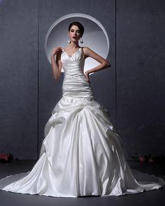 V-Neck Satin Mermaid Bridal Gown Wedding Dress